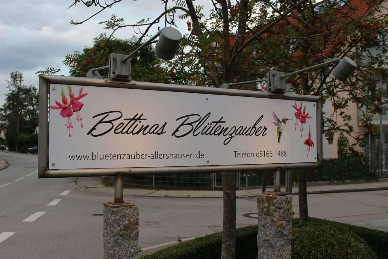 Das Schild von Bettinas Blütenzauber Allershausen